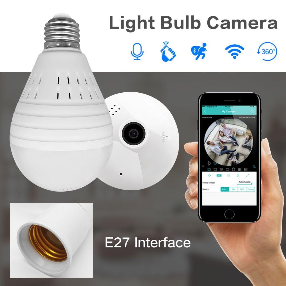 1080P 360 Degree Panoramic Wifi Light Bulb IP Hidden Security Camera